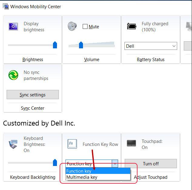 Tắt phím chức năng bằng Windows Mobility Center